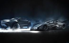 Картинка Рисунок, Машина, Машины, Range Rover, Арт, Batman, Batmobile, Фантастика, Rover, Рендеринг, Yasid Oozeear