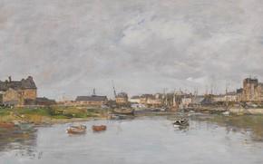 Обои Эжен Буден, картина, Eugene Boudin, городской пейзаж, дома, Порт Трувиля, гавань