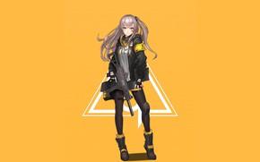 Картинка девушка, оружие, аниме, арт, куртка, жёлтый фон, Girls Frontline, Девушки фронта