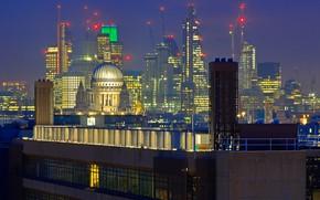 Картинка ночь, огни, Англия, Лондон, дома, панорама