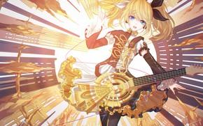 Картинка девушка, музыка, нежность, Vocaloid, Вокалоид, Кагомине Рин