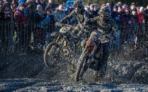 Картинка мотоциклы, гонка, спорт, грязь