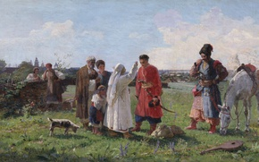Обои масло, Проводы на сечь, Афанасий СЛАСТИОН, казаки, Холст