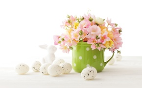 Обои decoration, Easter, Пасха, Happy, яйца крашеные, spring, eggs, flowers, цветы