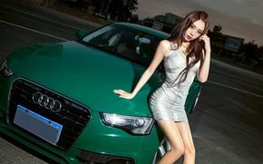 Картинка взгляд, Audi, Девушки, платье, азиатка, красивая девушка, зеленый авто