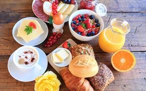 Картинка ягоды, кофе, еда, завтрак, сыр, сок, хлеб, нарезка, круассан, мюсли, апельсиновый