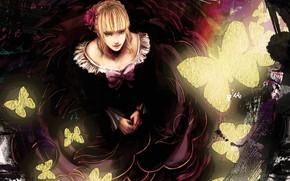 Картинка бабочки, декольте, рыжая, голубые глаза, цветок в волосах, Umineko no Naku Koro ni, Beatrice, Когда …