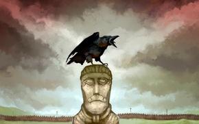 Картинка один, ворон, статуи