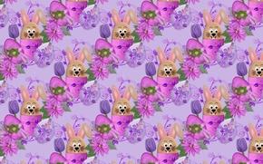 Картинка цветы, праздник, яйцо, вектор, текстура, кролик, Пасха, детская