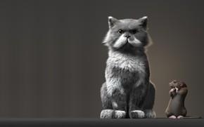 Обои кот, ситуация, арт, крыса, Рендеринг, Anton Osipkov, Rat and Cat