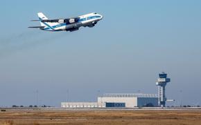 Обои самолёт, взлетает, АН-124, транспортный, тяжёлый, дальний, Антонов