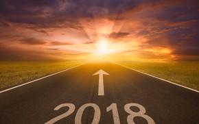 Обои цифры, лучи, дорога, 2018, шоссе, указатель, новый год, поле, солнце, небо, облака