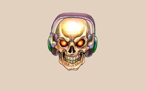 Обои наушники, череп, минимализм, скелет, skull, голова