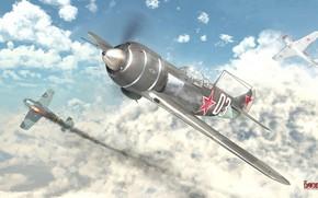 Картинка небо, облака, бой, самолёты, heavenly hunter (La-7)