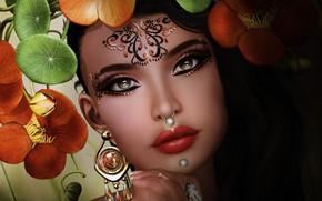 Картинка глаза, девушка, лицо, фон, губы