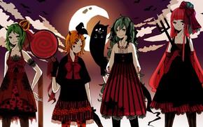 Картинка вечер, аниме, арт, Vocaloid, Вокалоид, хеллоуин