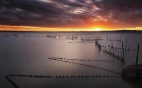 Картинка закат, сети, озеро
