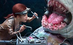 Обои зубы, стоматолог, арт, чудовище