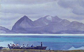 Картинка море, пейзаж, горы, лодка, картина, Rockwell Kent, Рокуэлл Кент, Greenland People. Dogs and Mountains