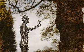 Картинка девушка, птица, женщина, человек, скульптура