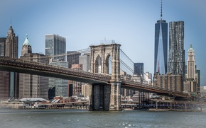 Обои Море, Нью-Йорк, Мост, Бруклин, Манхеттен, Здания, USA, США, Bridge, Brooklyn, New York, Manhattan, Sea