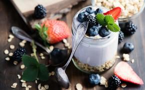 Картинка ягоды, завтрак, черника, Клубника, wood, йогурт, овсянка