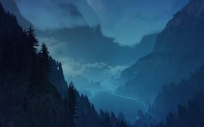 Картинка лес, горы, ночь, туман, ведьмак 3 дикая охота