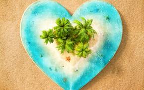 Картинка песок, море, пальмы, сердце, остров