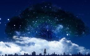 Картинка небо, девушка, облака, ночь, дерево, Y_Y