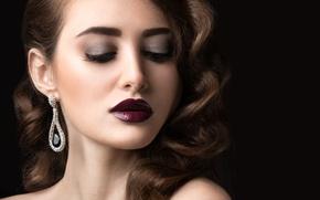 Картинка девушка, ресницы, волосы, макияж, помада, прическа, тени