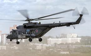 Картинка вертолёт, летит, Ми-8, Mi-8, ВВС России, Ми-8АМТШ, `Terminator`, Mil Mi-8AMTSh `Terminator`