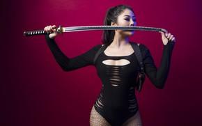 Картинка девушка, поза, меч