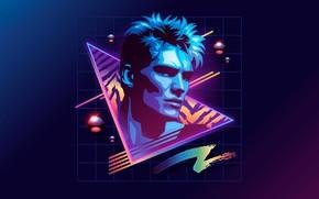 Картинка неон, 80s, neon, Дольф Лундгрен, Dolph Lundgren, 80s neon style