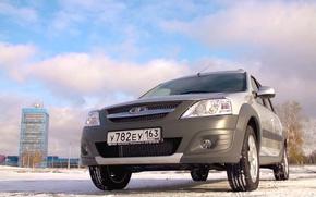 Картинка зима, небо, облака, башня, rus, Lada Largus