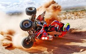 Картинка Песок, Квадроцикл, Мото, Rally, Dakar, Дакар, Ралли, Момент, Летит, Квадро, Аватрия