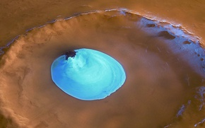 Обои NASA, лед, Марс, кратер