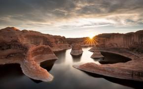 Картинка Sunrise, Lake Powell, Reflection Canyon