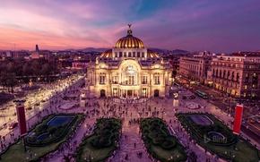 Картинка огни, площадь, Мексика, Дворец изящных искусств, оперный театр, Мехико