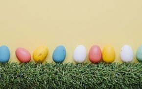 Картинка Весна, Пасха, Яйца, Травка, Праздник