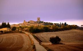Картинка twilight, tower, sunset, dusk, Spain, Cataluña, farmland, Segarra