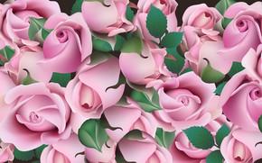 Картинка листья, цветы, рендеринг, розы, бутоны, flowers, leaves, rendering, roses, buds