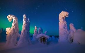 Картинка зима, небо, звезды, снег, ночь, северное сияние, сарай, север, метеоры, Лапландия