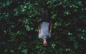 Картинка фон, сюрреализм, обои, настроения, парень, зеленая листва