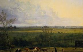 Картинка пейзаж, картина, Питер Герардус ван Ос, Вид на Лугах вблизи Деревни Грэйвлэнд