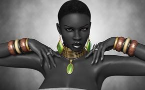 Картинка девушка, рендеринг, руки, кольцо, черная, украшение, браслеты, афро
