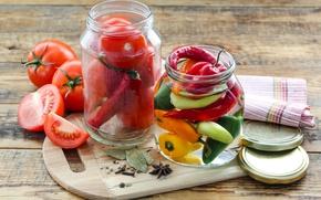Картинка перец, банки, овощи, помидоры