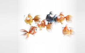 Картинка рыбки, арт, золотая рыбка, детская, Nicolas Santos, GoldFish