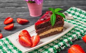 Обои желе, крем, пирожное, шоколад, клубника, мята