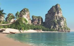 Картинка море, горы, пальмы, берег, Thailand Beach