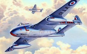 Картинка Vampire, ВВС Великобритании, De Havilland, британский реактивный истребитель, DH.100, Королевские военно-воздушные силы Великобритании